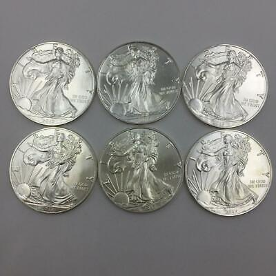 (6) 2017 American Silver Eagle Walking Liberty 1 Oz Fine Silver Dollar Coins