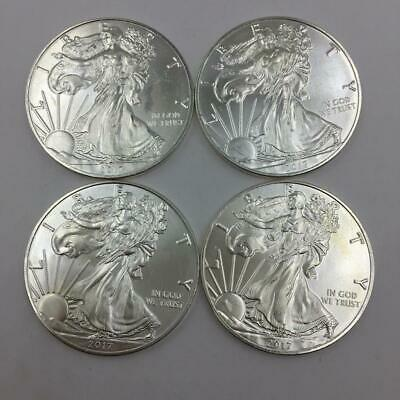 (4) 2017 American Silver Eagle Walking Liberty 1 Oz Fine Silver Dollar Coins