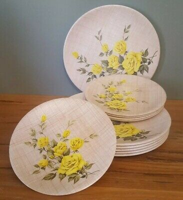 Ornamin Melmac Plates  6 Dinner Plates and 6 Side Plates Yellow Roses Vintage