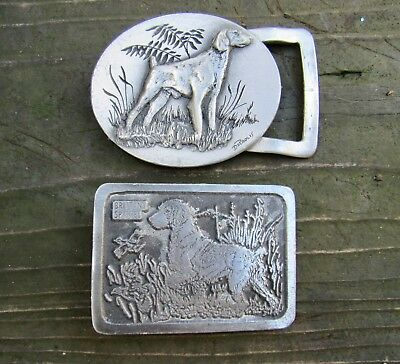 Lot 2 diff SPANIEL Belt Buckles AKC Brittany ART Springer DOG Hunting RARE VG++