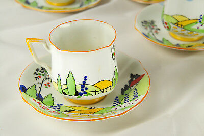1930's Bell China England – Hand-painted Clarice Cliff style tea set