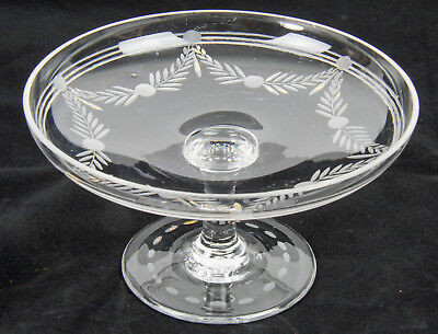 Antique Hand Etched and Gilded Glass serving dish