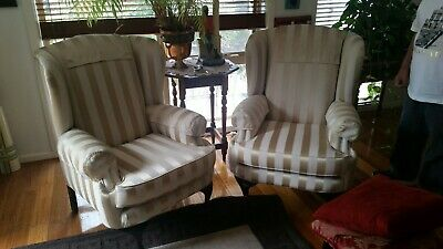 Lounge chairs pair of 2 - wingback with regency stripes and cushions!