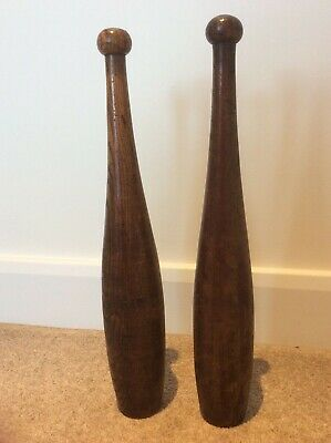 Pair of Vintage Wooden Indian Clubs