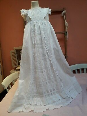 Antique Christening Gown Dress Victorian Baby Doll Embroidery Cotton Frills