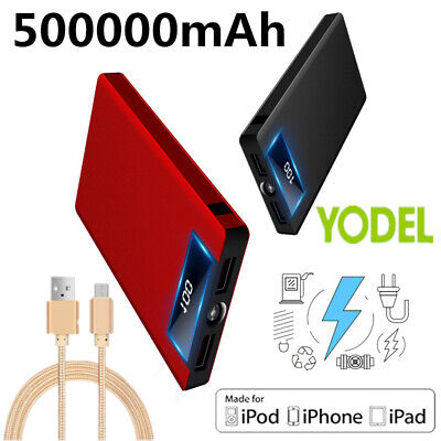 500000 MAh Power Bank LCD&LED Portable Battery Charger 2 USB for Mobile Phone