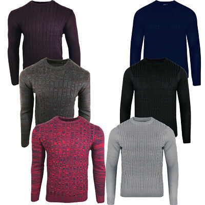 Men's Sweatshirt Knitwear Cable Sweater Jumper Round Neck Long Sleeve 5 Color