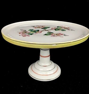 Antique Victorian Milk Glass Pedestal Footed Cake Plate Hand Painted Floral