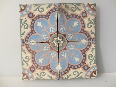 "Antique Ceramic Floor Tile Set Tiles Vintage Old Architectural Floral x4 6""W"