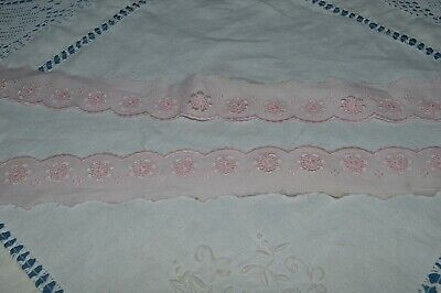Mercerie Ancienne/ Galon Broderie Anglaise Couleur Rose 10 M 45  / Neuf