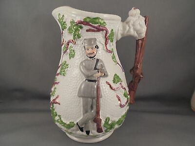 """Old Antique 19th C Staffordshire Pottery Pitcher The Volunteer Soldier 6 3/4"""""""