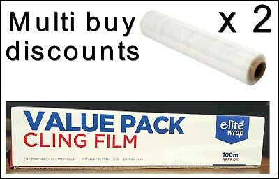 2 x Kitchen Catering Cling Film 295mm Wide x 100m Long Food Wrap Wrapping Cling