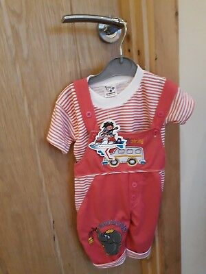 baby girls bright pink romper suit with matching t shirt Size 3 months