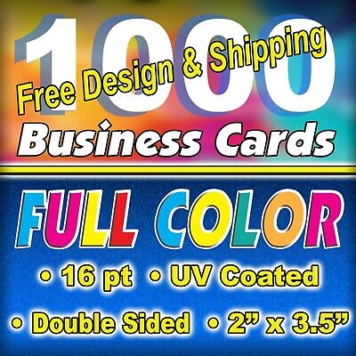 1,000 16pt. High Gloss Business Cards - Double Sided - FREE Design/Ship $24.99