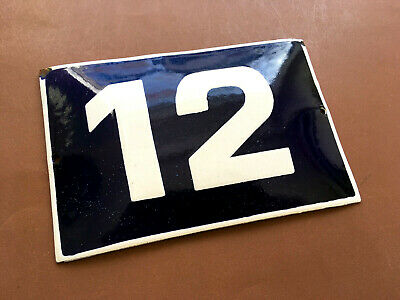 ANTIQUE VINTAGE EUROPEAN ENAMEL SIGN HOUSE NUMBER 12 DOOR GATE SIGN 1950's