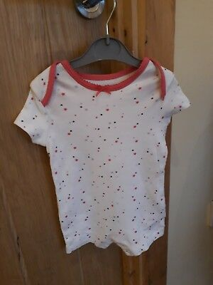 baby girls white with pink stars Primark short sleeved romper suit  3-6 months