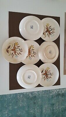 Hand Painted Romany Kanedai Warm Floral Pattern 7 Saucers and 4 Tea Cups