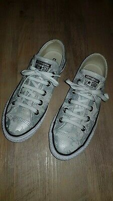 45dacf323c0b0a Ladies Converse All Star Chuck Taylor Lo Metallic Silver Brushed Suede UK 4