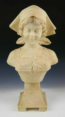 Antique Art Nouveau Carved Alabaster Bust of a Young Lady, Signed J. Masini