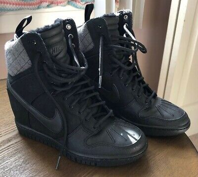 f94040758e9f2 NIKE Dunk Super Sky Hi Sneaker Boot High Top Wedge Trainer Black Quilted  Size 7