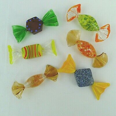 Hand Blown Art Glass Wrapped Candies 6 Assorted Styles Orange Yellow Blue Green