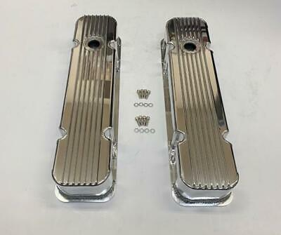 Pontiac V8 326 455 Nostalgic Polished Aluminum Finned Tall Valve Covers w/ Hole
