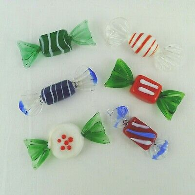 Hand Blown Art Glass Wrapped Candies 6 Assorted Styles Red Blue Green White