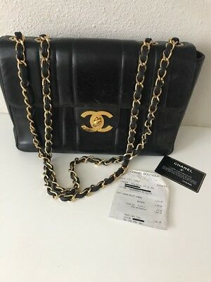 2a3816883c22 VTG CHANEL Classic Single Flap Vertical Quilted Gold Chain Handbag Purse  Black