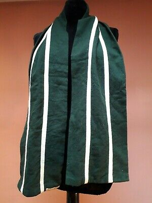 "VINTAGE WOOL SCARF STRIPED COLLEGE SUFFRAGETTE DARK GREEN IVORY 64 x 9""English"