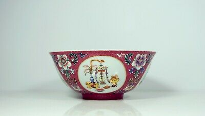 A Ruby Ground Famille Rose Sgraffiato 'Medallion' Bowl