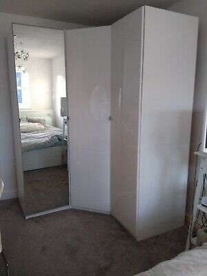 Ikea Pax Corner Wardrobe Triple (3 Door:1 Mirror, 2 White High