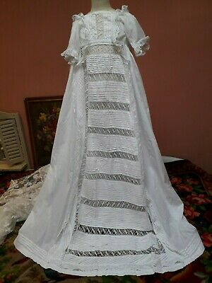Antique Lace Christening Gown Dress Doll White Cotton Baby Vintage Damaged Shabb