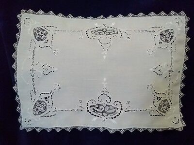 Exquisite Antique Point de Venise Embroidery Lace Linen Placemats SET OF 4