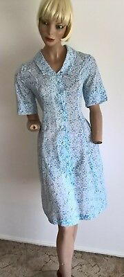 VTG 80's Granny polyester blue floral vines button front shirt dress  size 12/M