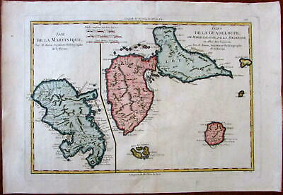 Martinique Guadeloupe Caribbean c.1780 Bonne lovely old map