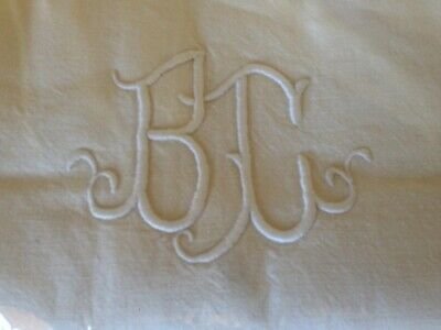 Vintage French Metis Sheet Embroidered Monogram Pure Linen Large France Antiq #1