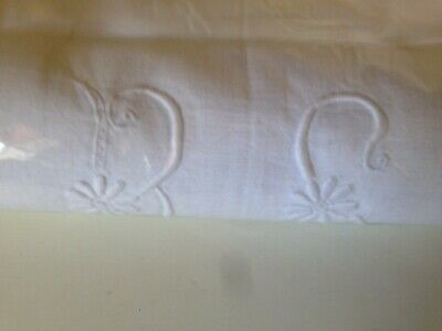 Vintage French Metis Sheet Embroidered Monogram Pure Linen Large France Antiq #2