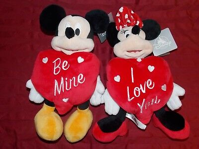 New Disney Parks Mickey And Minnie Mouse Valentines Day Plush Set Of Two 11""
