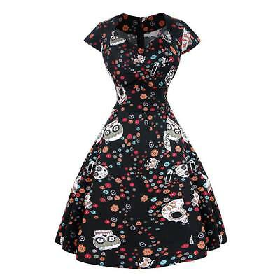 Rockabilly Dress Plus Size Black Skull Sugar Design Cap Sleeve Size 18 Halloween