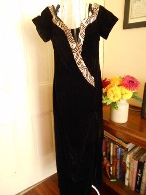 Vintage Black Velvet Evening  Dress By Mr K  Made In Australia