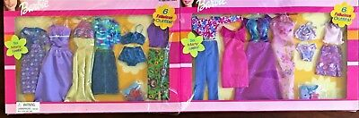 2 Pack -Rare Barbie Doll 6 FASHION GIFT Clothes Outfits Set w/Shoes Vintage