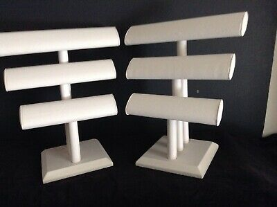 Lot of 2 3-Tier White Faux Leather Jewerly Display Stand