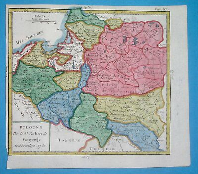 1783 Rare Nice Antique Map Poland Lithuania Ukraine Belarus Warsaw Minsk Wilna