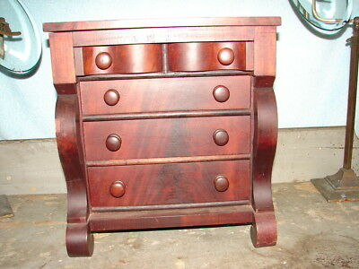 Antique Miniature Empire Chest of Drawers - Mid 1800's - Jewelry Chest - NICE