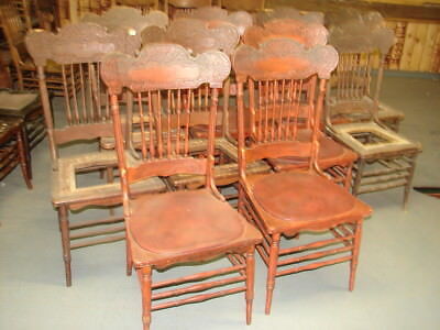 #64 - 10 Matching Antique Pressed Back Chairs w/Foral Press - Restoration
