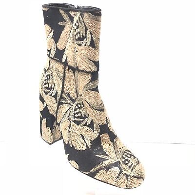 b5540bc585b STEVE MADDEN GOLDIE Black Floral Brocade Fabric Heeled Ankle Boots ...