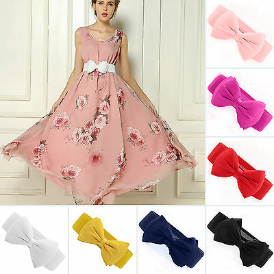 Women Girls Bowknot Waist Belt Elastic Bow Wide Stretch Buckle Waistband Dress