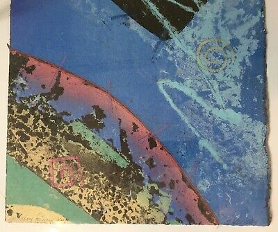 2 Original Abstract Hand Made Paper Paintings Listed Female Artist M. Runnells