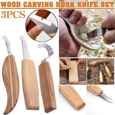 3pcs Wood Carving Hand Chisel Tool Set Woodworking Cutter Chip Hand Tools DIY