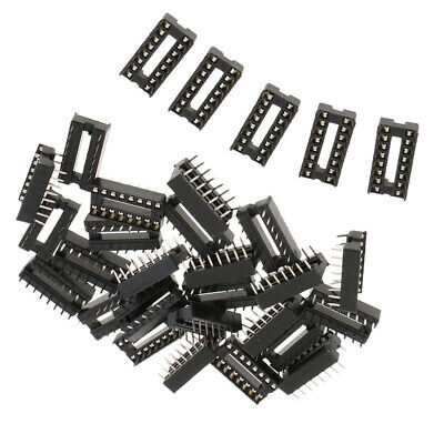 30pcs Round Hole 16 Pins 2.54MM DIP IC Sockets Adaptor Solder Type